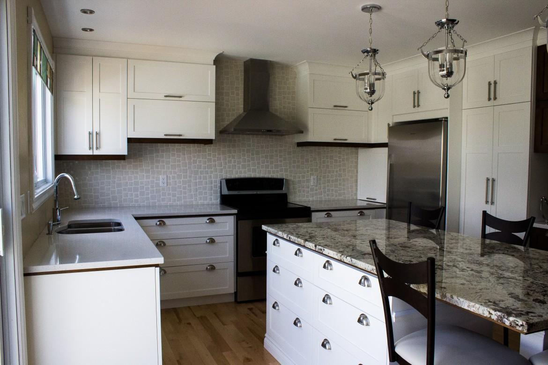 Armoires de cuisine en polyester blanc lot en granit - Cuisine melamine blanc ...