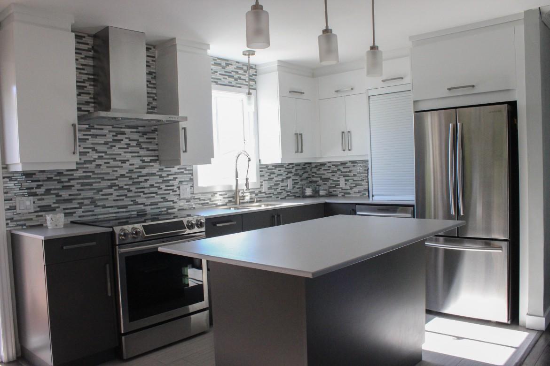 Beau armoires de cuisine de deux couleurs hdj5 appareils for Armoires de cuisine
